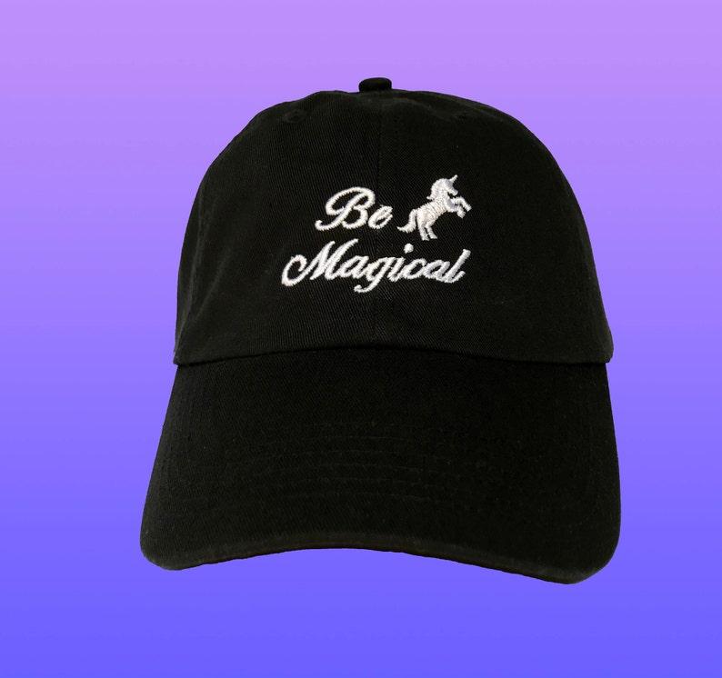 0fc0b418af61e Be Magical Unicorn Dad Hat Tumblr Baseball Cap Kawaii Dad