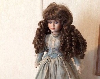 """Porcelain doll vintage french victorian 28"""" f74cms) display collectable with stand."""