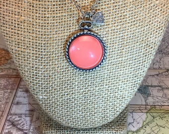 Coral Pocket Watch Pendant Necklace
