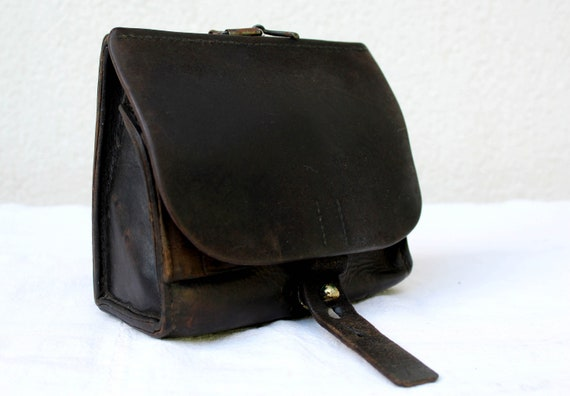 Antique Swiss Army Leather Ammo Pouch for Vetterli Rifle