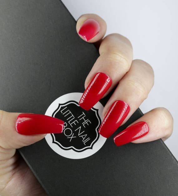 Bright Red Coffin Shaped Nails