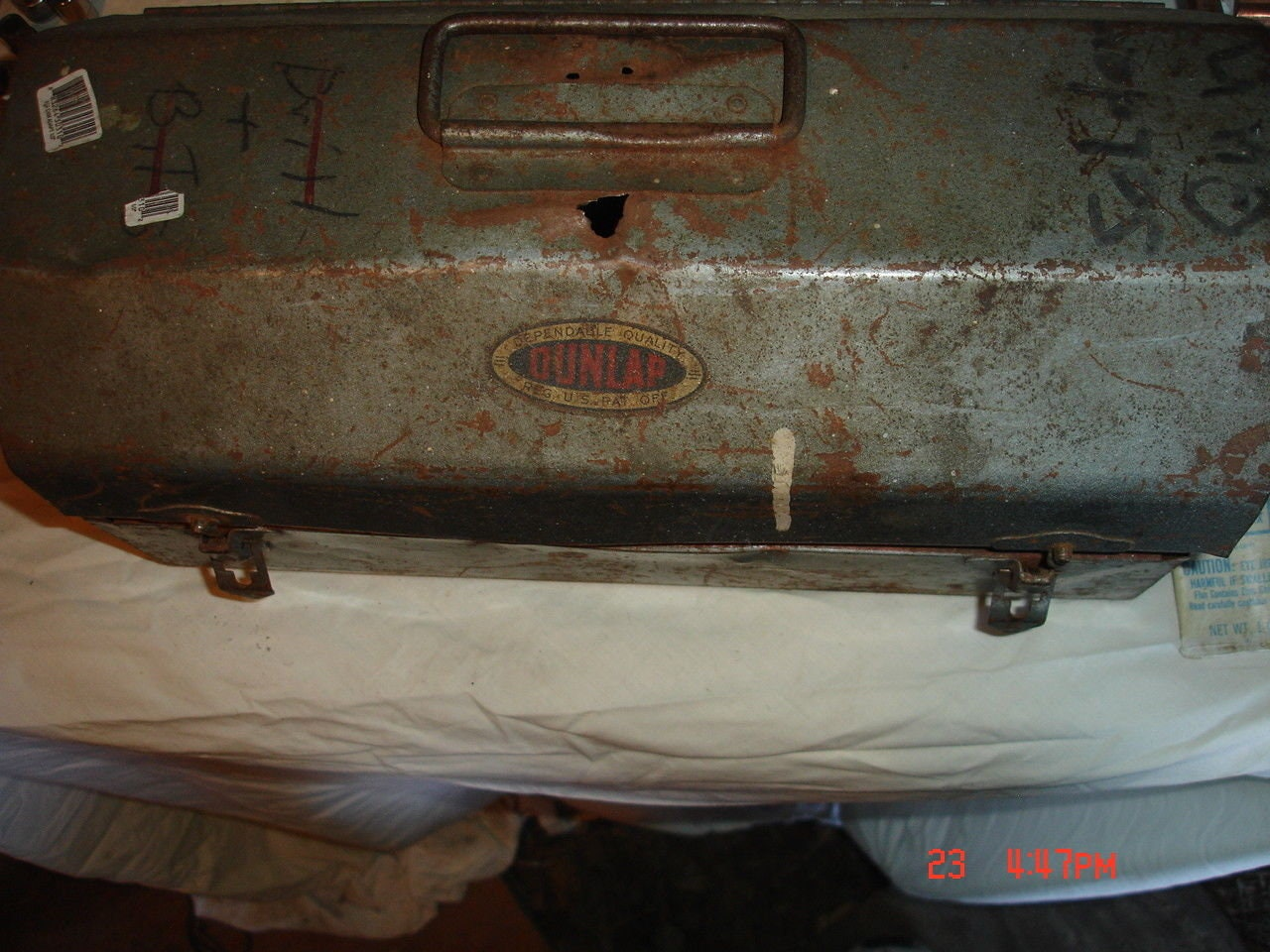 Old Metal Tool Box with some Plumbing Supplies/tools,See pictures ...