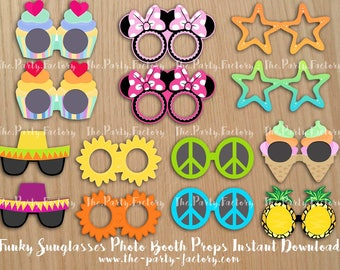 4e59f35f38 Funky Sunglasses Photo Booth Props Instant Download