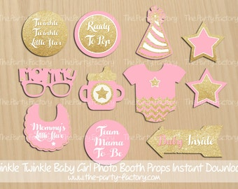 Baby Girl Shower Photo Booth Props, Instant Download, Printables