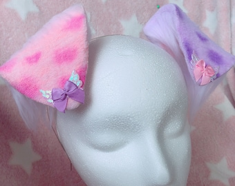 Pastel Pink and Lavender Spotted Puppy Ear Headband