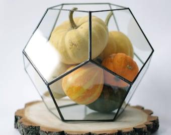 Geometric Terrarium / Medium Dodecahedron / Stained Glass Terrarium / Handmade Glass Planter / Stained glass vase