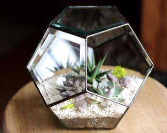 NEW! FACET GLASS / Geometric Terrarium / Dodecahedron / Stained Glass Terrarium / Handmade Glass Planter / Stained glass vase