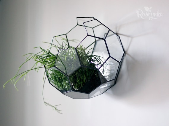 Hanging Decor Geometric Interior Decor Stained Glass Terrarium Airplant  Planter Glass Terrarium