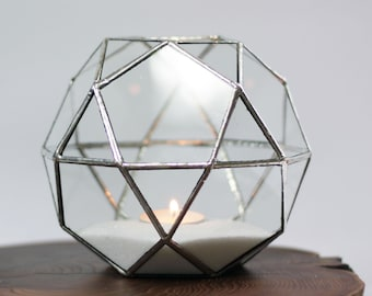 Geometric Terrarium / Small Icosidodecahedron / Stained Glass Terrarium / Handmade Glass Planter / Stained glass vase