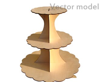 Triple Stand for cupcakes, set of 2 drawings, laser cut vector model, vector template for laser cutting, cnc file, instant download