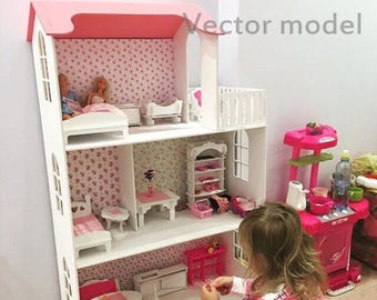 Dollhouse 3 floors for Barbie vector plan, dollhouse laser cut vector model, vector template for laser cutting, cnc file, instant download