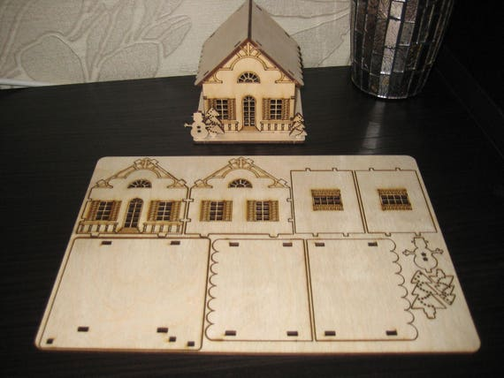 Christmas Toy House Set Of 2 Drawings Laser Cut Vector Etsy