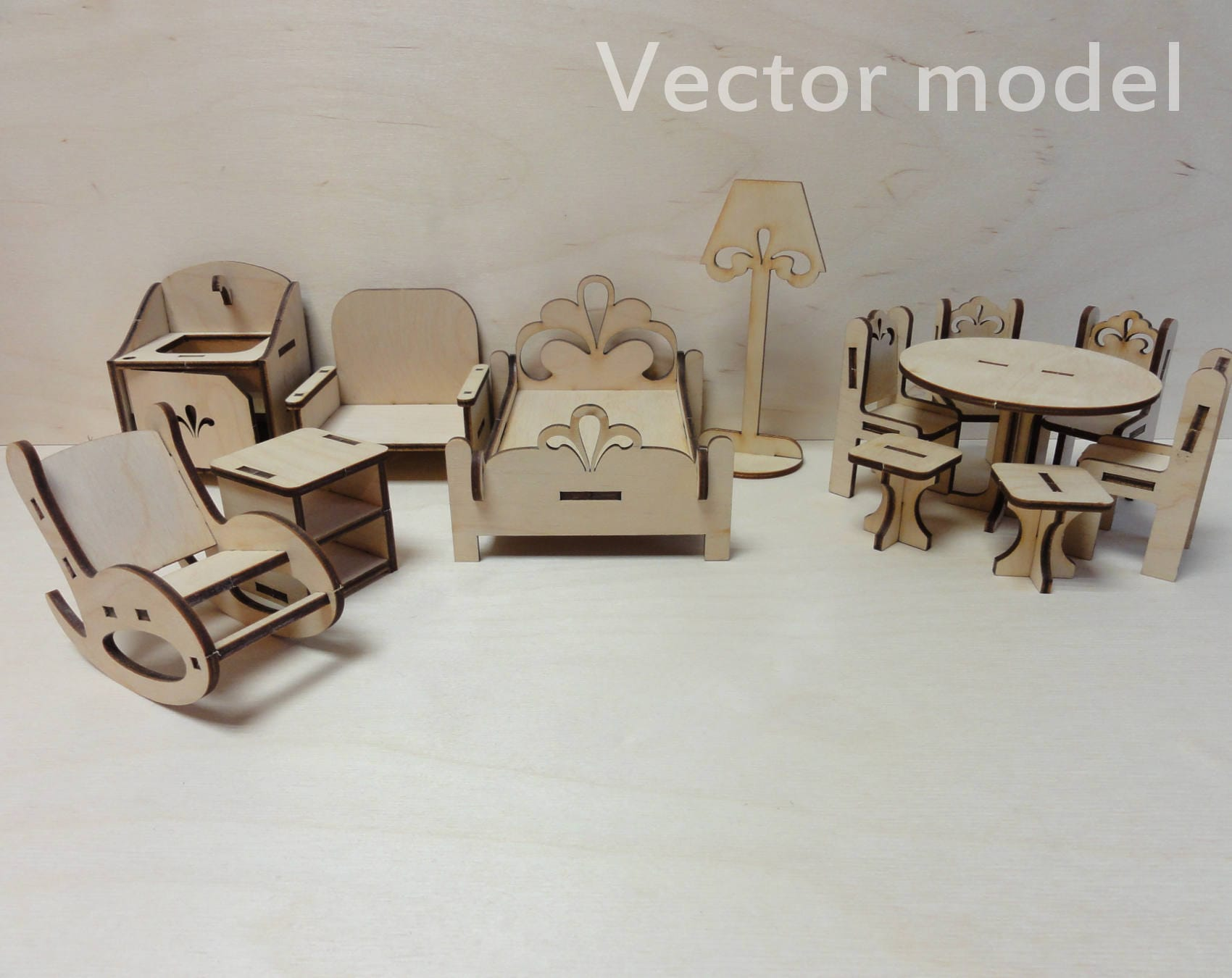 Dolls Furniture Drawing, Toy Furniture Vector Plan, Laser Cut Vector Model,  Vector Template For Laser Cutting, Cnc File, Instant Download