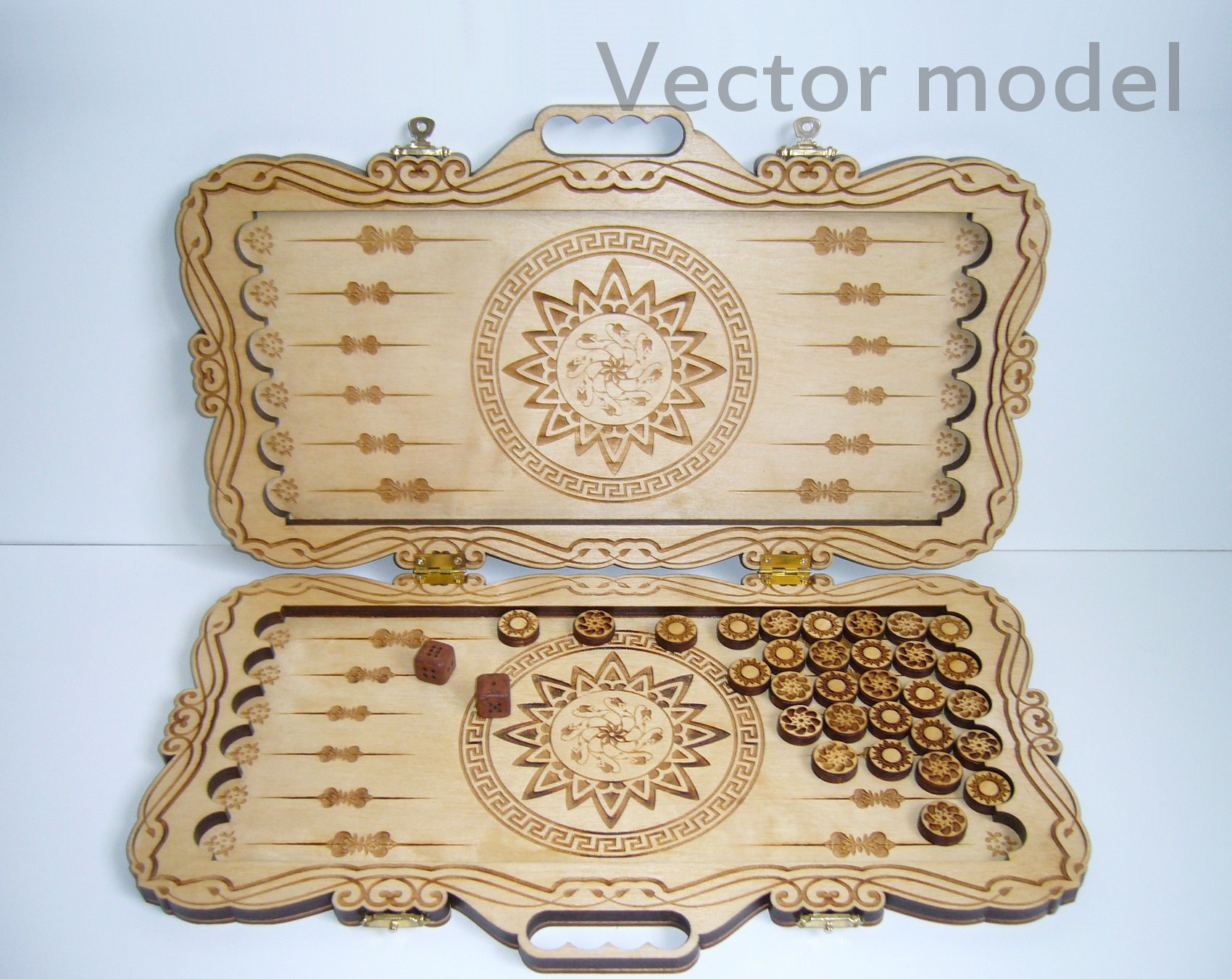 Backgammon drawing, board game, greek style, laser cut vector model,  pattern, vector template for laser cutting, cnc file, instant download
