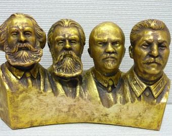 Soviet Russian liders Lenin Stalin Marx Engels bust sculpture