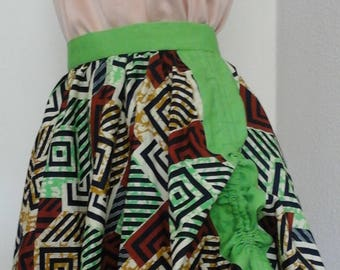 Wax skirt, band of linen with drawstring on the sides
