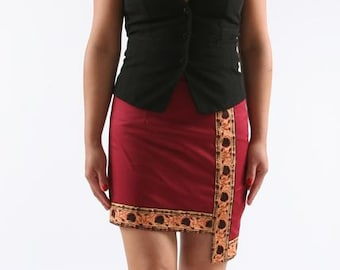 cotton skirt with wax panel