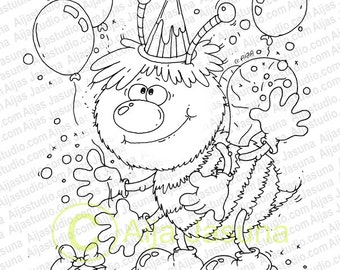 Digital Stamp, Bee, Coloring Page,  Birthday, Baby, Balloon, Digi Stamp, scrapbooking, Child, Baby stamps,