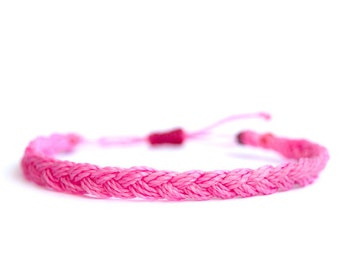 Rope braided bracelet, waxed polyester, Linhasita, pink.