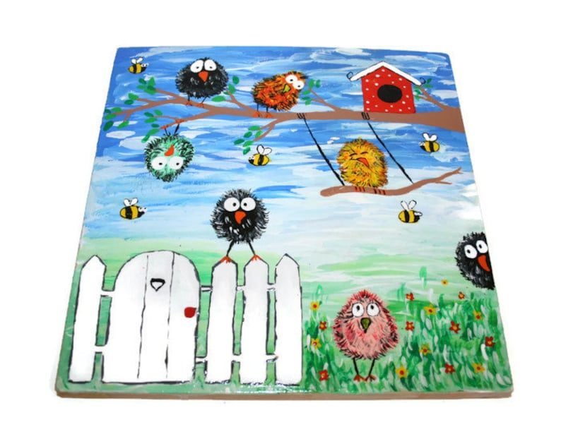 Unique Ludo game, wood board game, family board game, game for kids, table  game, Travel Game, birds painting, funny painting, Aggravation