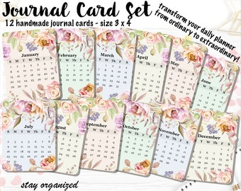 Calendar 2017 Journal Cards Project Life Cards Journaling Cards Scrapbook Cards Journaling Assorted Cards Scrapbooking 3x4 Cards JC005