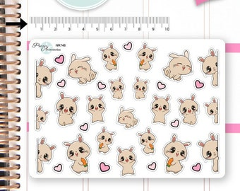 Kawaii Bunny Stickers Cute Bunny Stickers Planner Stickers Erin Condren Functional Stickers Decorative Stickers NR748