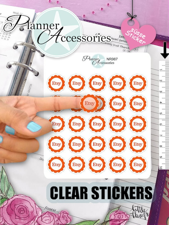 Clear etsy stickers label stickers erin condren limelife