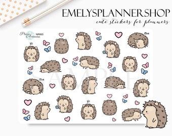 Stickers, Hedgehog, Animal, Planner, Kawaii, Character, Cartoon, Cute, Hobonichi, Accessories, Cuddly, Calendars, Zoo, Kids, DIY Crafts 665