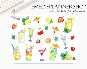 Cocktail Stickers, Drink Stickers, Summer Stickers, Watercolor Painting - Bujo Sticker - Decorative Stickers for Bullet Journal 746