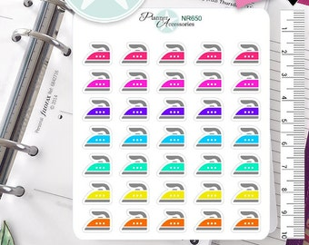 Iron Stickers Household Stickers Cleaning Day Stickers Planner Stickers Erin Condren Functional Stickers Daily Chore Stickers NR650