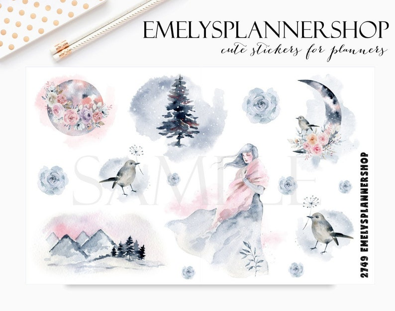 Mystery Winter Girl  Forest Stickers  Woodland Birds  image 0