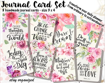 Motivational Quotes Journal Cards Project Life Cards Journaling Cards Scrapbook Cards Journaling Assorted Cards Scrapbooking 3x4 Cards JC004