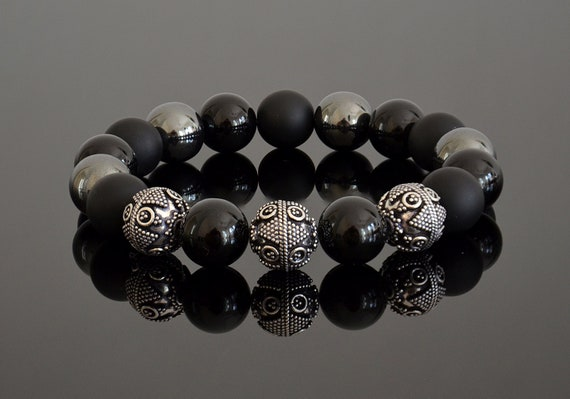 Black obsidian and mixed bead bracelet