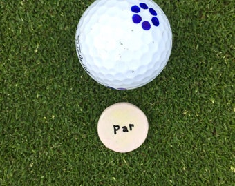 Golf ball marker, par or birdie golf double sided putting marker