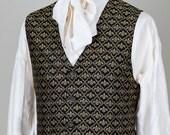 Brocade WaistCoat / Vest - Gold & Black Victorian Trellis