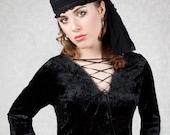 Black Velvet Gothic Top - Lace Up Neck