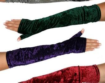 Long Fingerless Gloves - Velvet or Black Lace