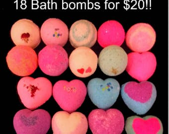 18 BATH BOMBS Set! Great Gift for her! Heart Shaped bath bombs, round bath bombs, assorted colors and scents Handmade Gift Set Fizzy Fizzies