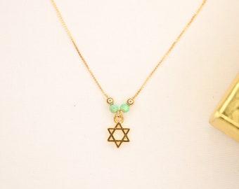 Jewish Star Evil Eye Jewelry Shield of David Pendant Dainty Women Judaica Magen David Gold field Chain Star of David Necklace for Women