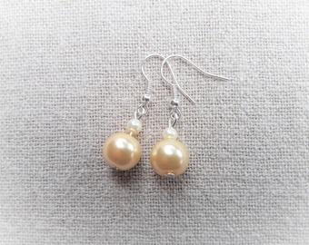 Yellow earrings bridal earrings Pearl Earrings wedding earrings earrings yellow dangle earrings