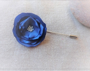 Pin the nightblue boutonniere brooch pin blue flower brooch blue - ninette wedding fabric