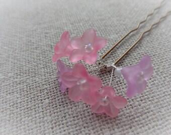 Wedding hair pin Bobby pins bridal hair pin pink bun bun stick pink flower hair pin