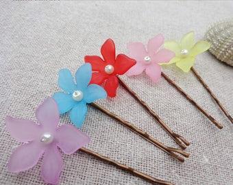 Bridal hair barrette flower barrette hair clip barrette ceremony wedding big flower - set of 3
