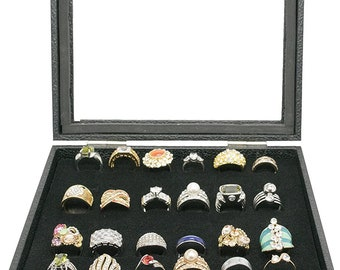 888 Display USA 6 Pcs 72 Slot Black Jewelry Travel Ring Inserts Display Pads Black, 6