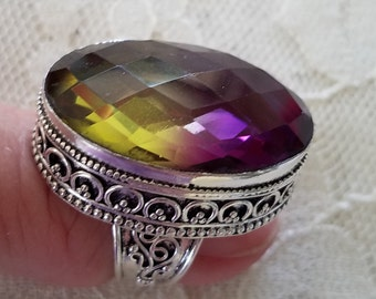 Amertrine Chakra Jewelry- Ametrine Ring, 7.5