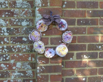 Brown bow floral rattan wreath with pastel flowers and gold star, spring decor, Easter, cottage core