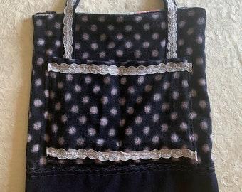 Navy spot bag, shopping bag, shopper, washable handbag, bottle bag, tote bag, wool bag, Boho bag, natural bag, neutral bag, shoulder bag