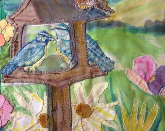 Birdtable with Birds and a Rabbit Textile Wall Art by Amanda Howse, Wall Hanging, Tapestry Art, Wall Decor
