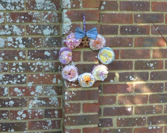 Blue bow natural flower wreath, spring decor, Easter, door decor, spring, cottage core