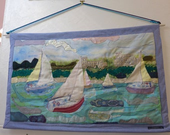 Boats in Osborne Bay Nautical Applique Wall Hanging Art